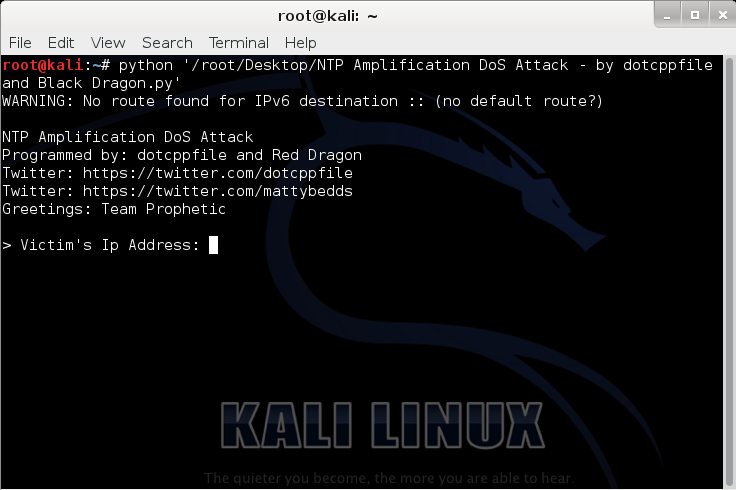 NTP Amplification DoS Attack – by dotcppfile and Red Dragon (Python